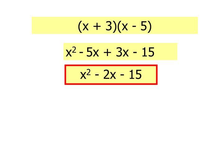 (x + 3)(x - 5)