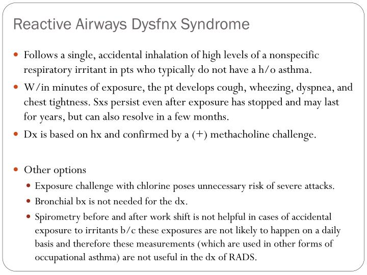 Reactive Airways Dysfnx Syndrome