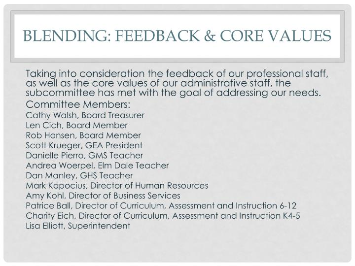 blending: Feedback & Core values