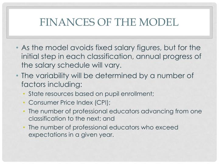 Finances of the model