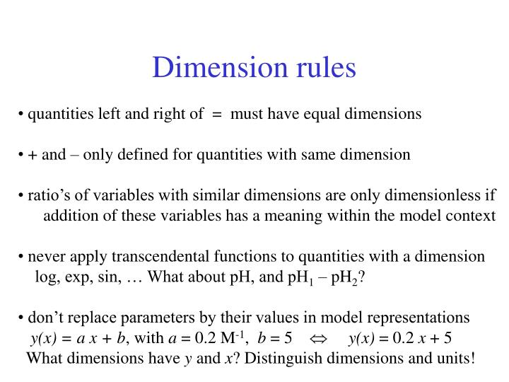 Dimension rules