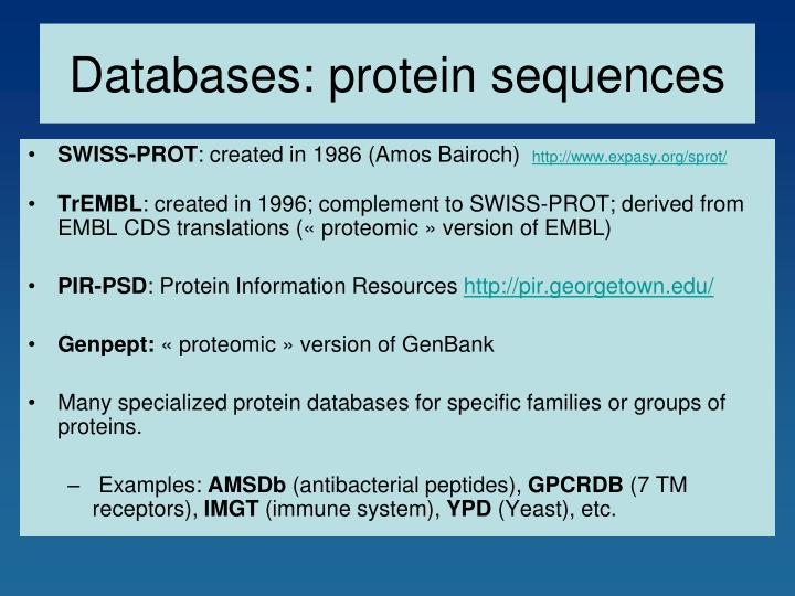 Databases: protein sequences
