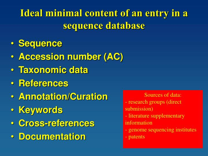 Ideal minimal content of an entry in a sequence database