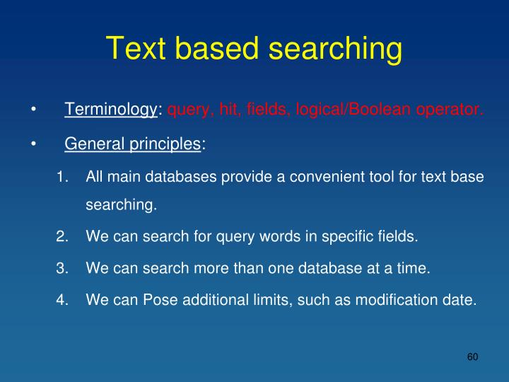 Text based searching