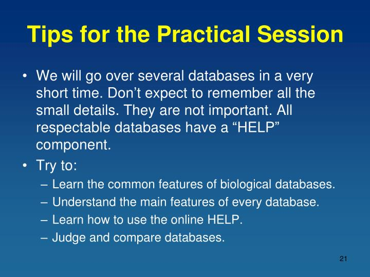 Tips for the Practical Session
