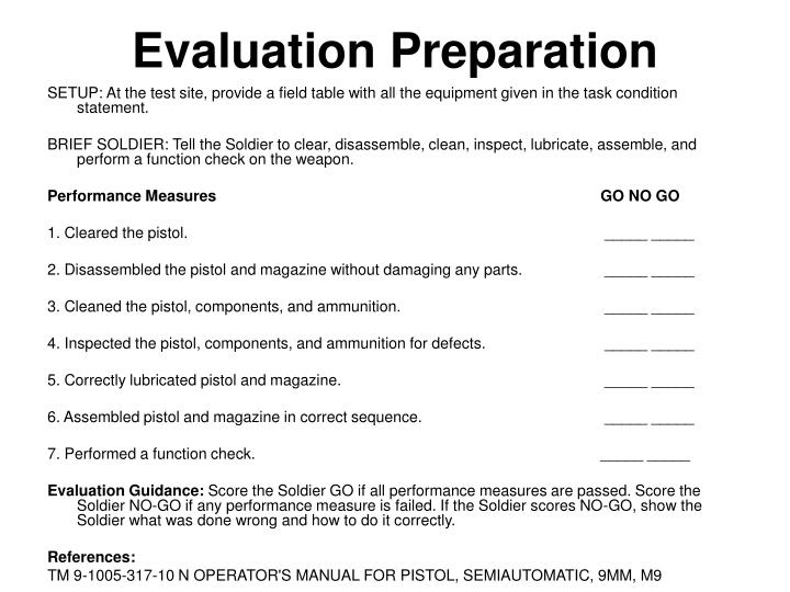 Evaluation Preparation