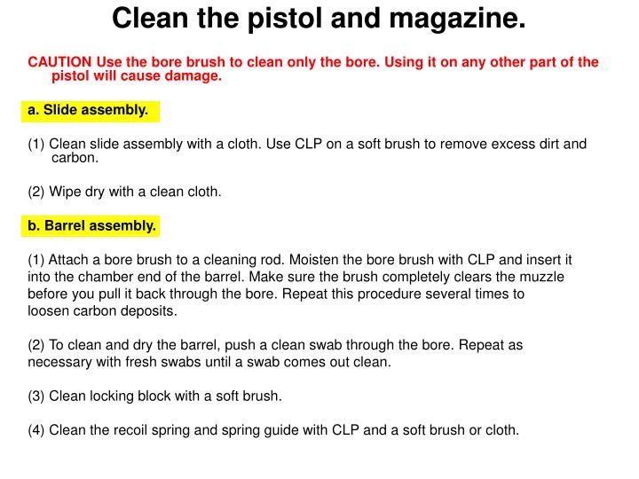 Clean the pistol and magazine.