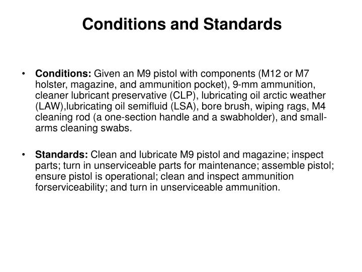 Conditions and Standards