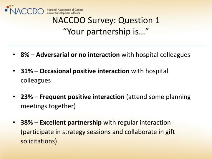 Naccdo survey question 1 your partnership is