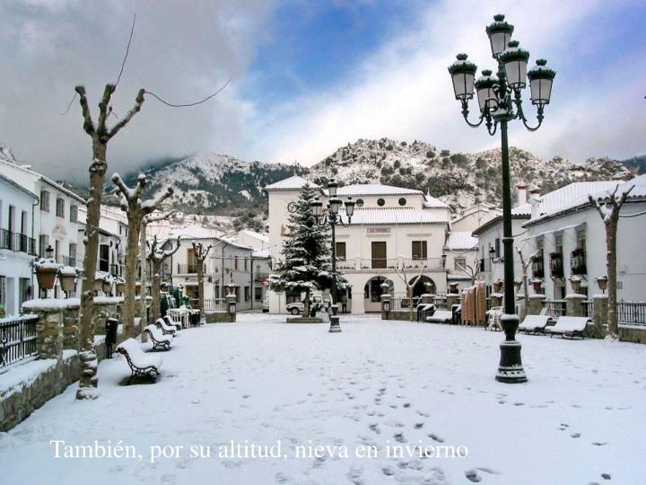 También, por su altitud, nieva en invierno