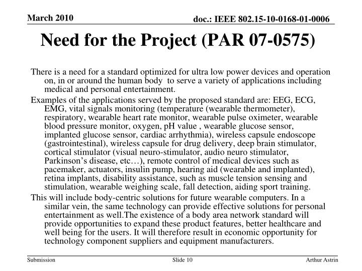There is a need for a standard optimized for ultra low power devices and operation on, in or around the human body  to serve a variety of applications including medical and personal entertainment.