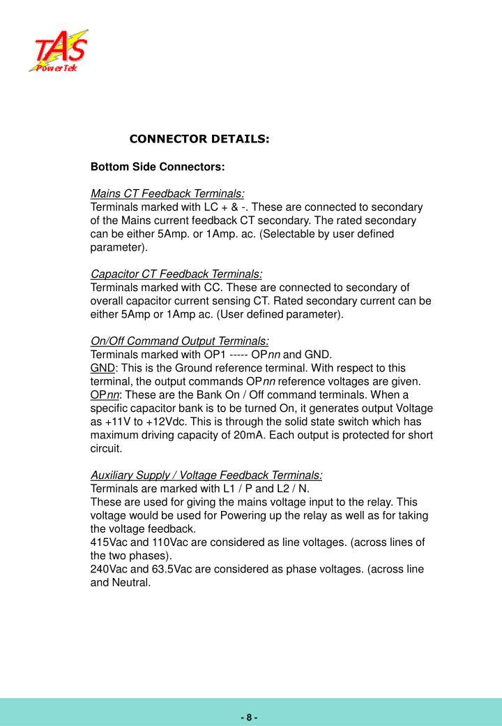CONNECTOR DETAILS: