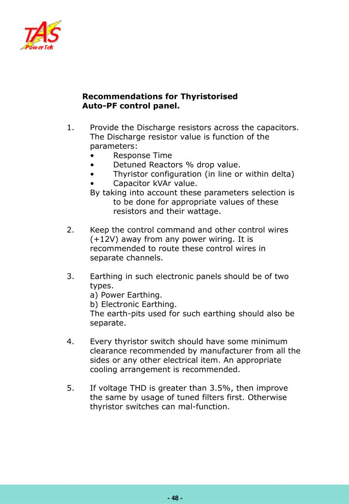 Recommendations for Thyristorised