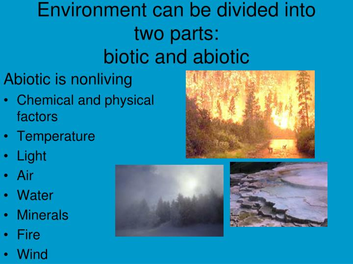 Environment can be divided into two parts biotic and abiotic