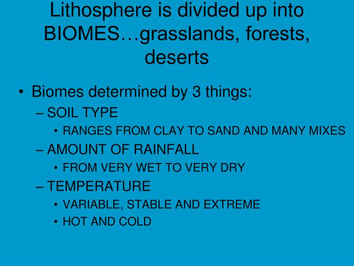 Lithosphere is divided up into BIOMES…grasslands, forests, deserts