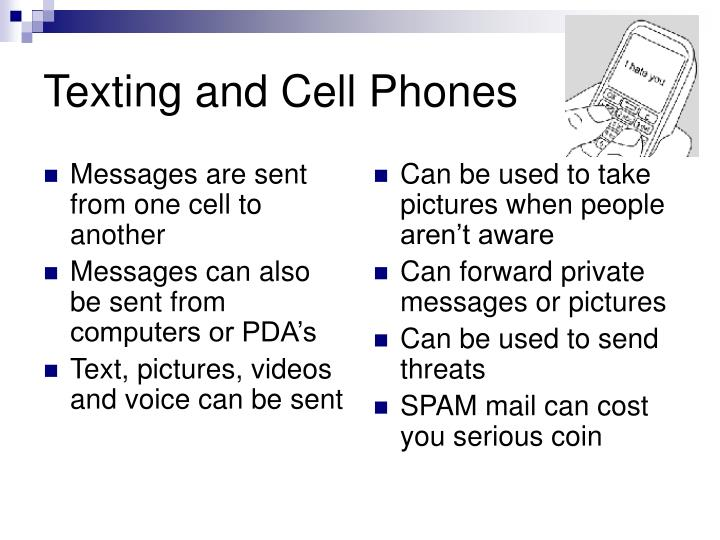 Messages are sent from one cell to another