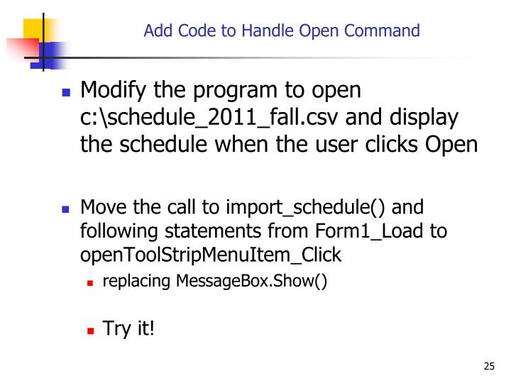 Add Code to Handle Open Command