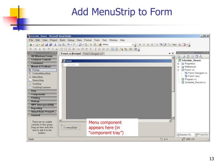 Add MenuStrip to Form