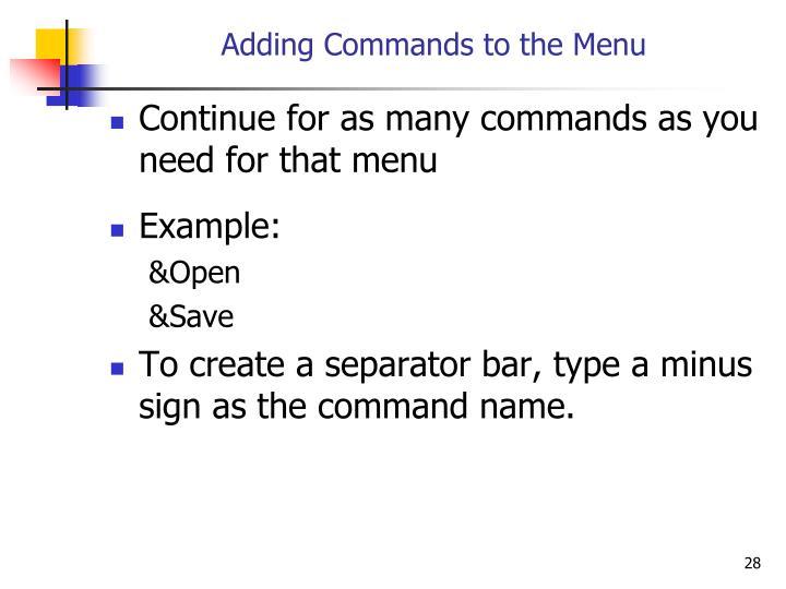 Adding Commands to the Menu