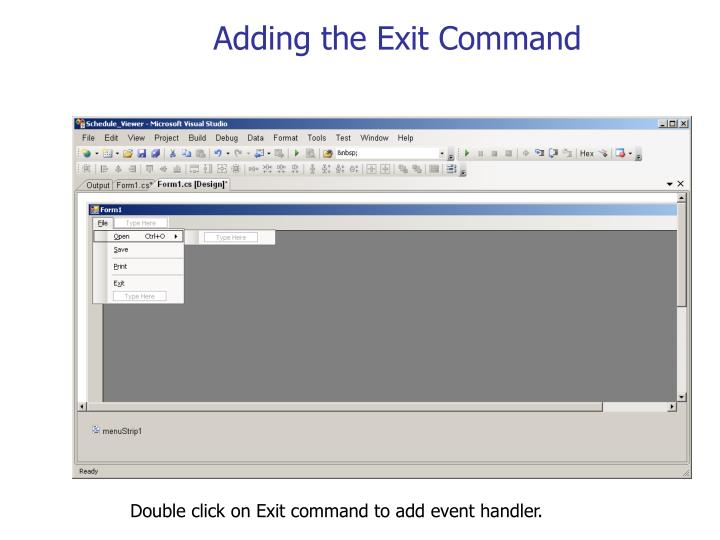 Adding the Exit Command