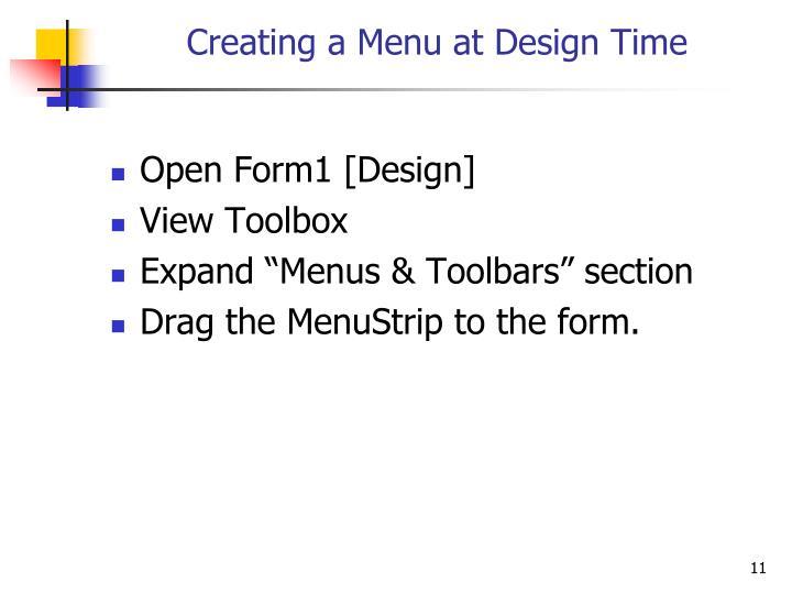 Creating a Menu at Design Time