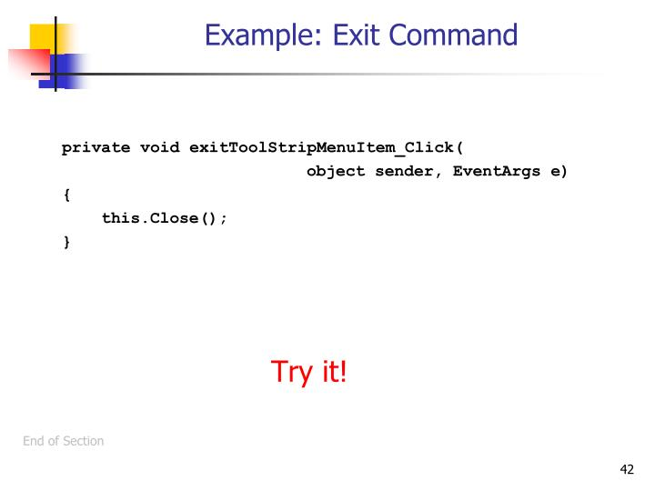 Example: Exit Command