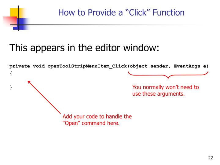 """How to Provide a """"Click"""" Function"""