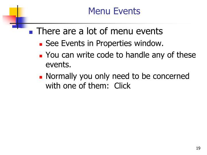 Menu Events