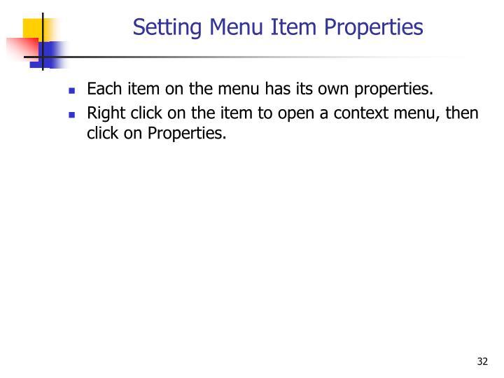 Setting Menu Item Properties