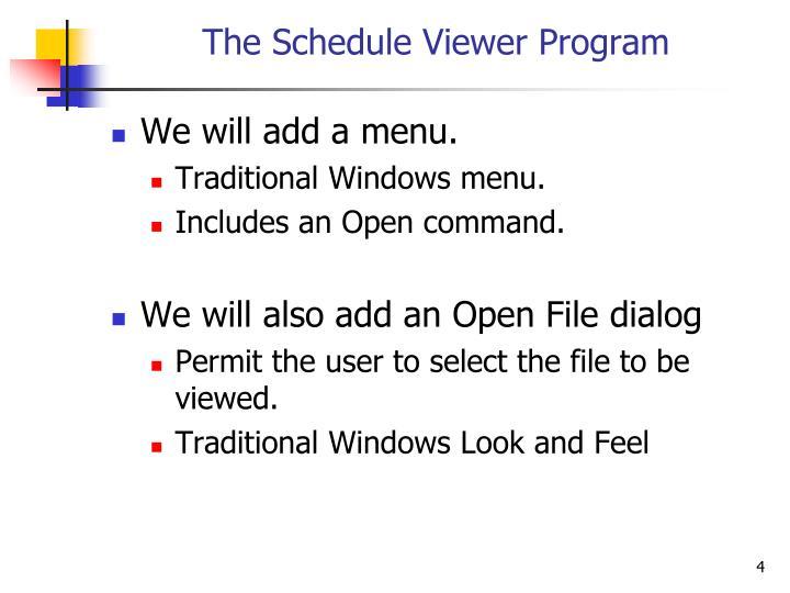 The Schedule Viewer Program