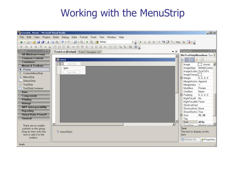 Working with the MenuStrip