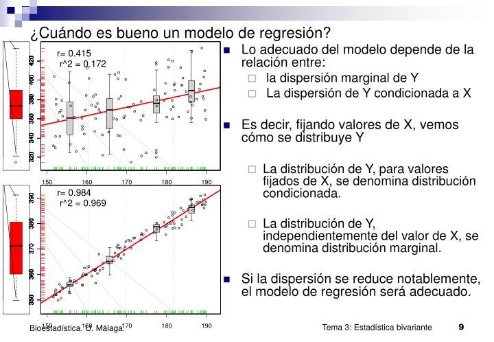 ¿Cuándo es bueno un modelo de regresión?