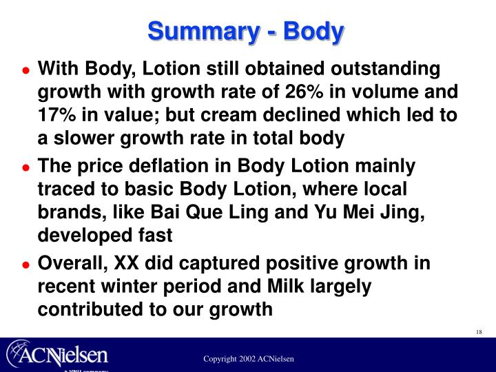 Summary - Body