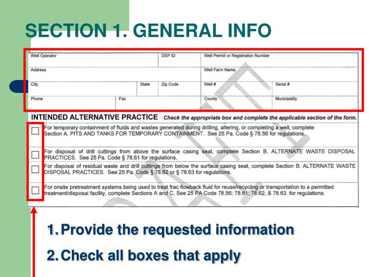 SECTION 1. GENERAL INFO