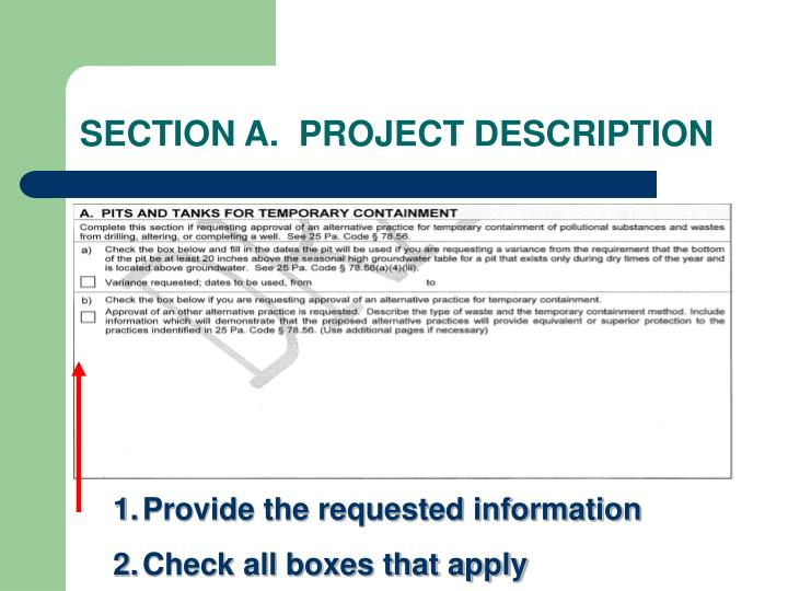 SECTION A.  PROJECT DESCRIPTION