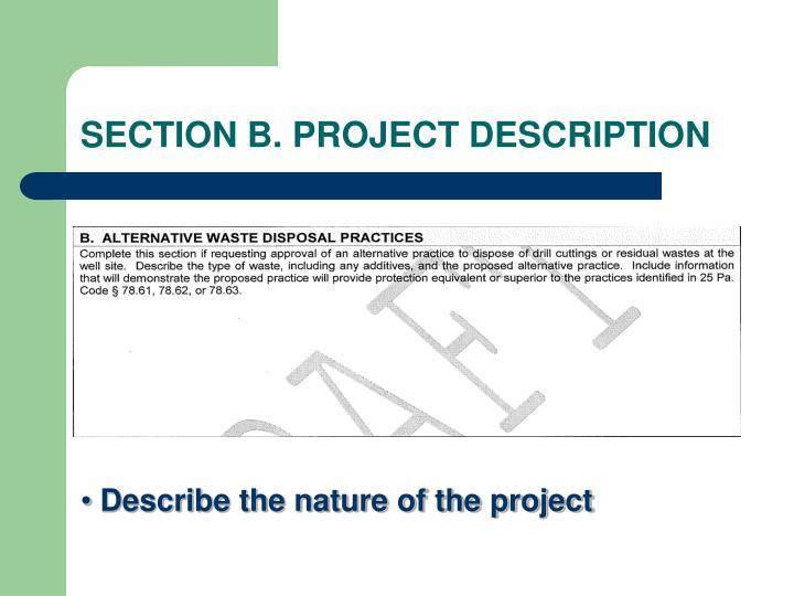 SECTION B. PROJECT DESCRIPTION
