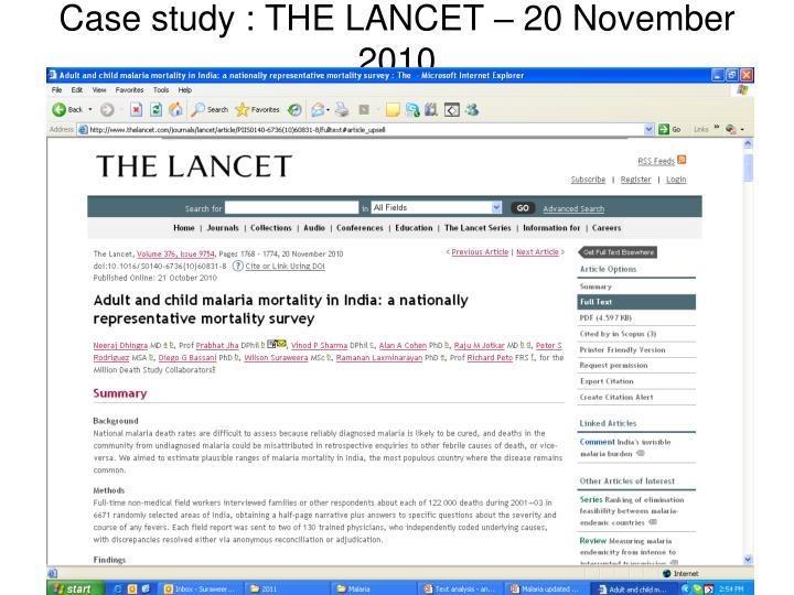 Case study : THE LANCET – 20 November 2010