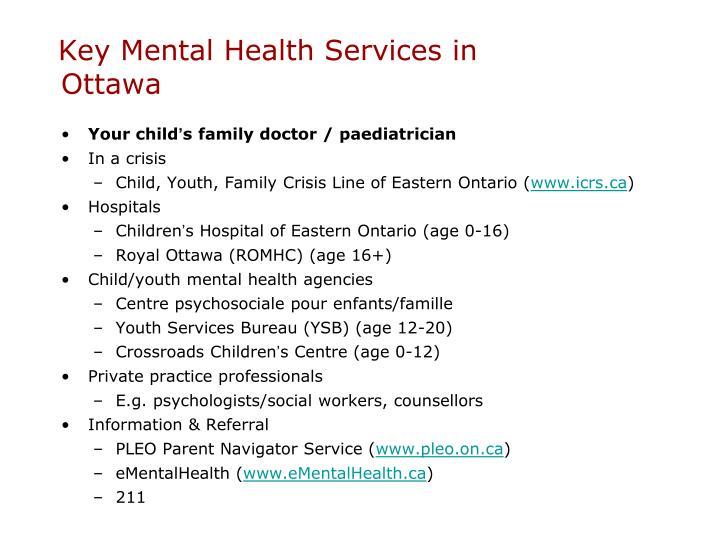 Key Mental Health Services in Ottawa