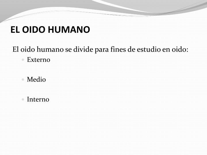 EL OIDO HUMANO