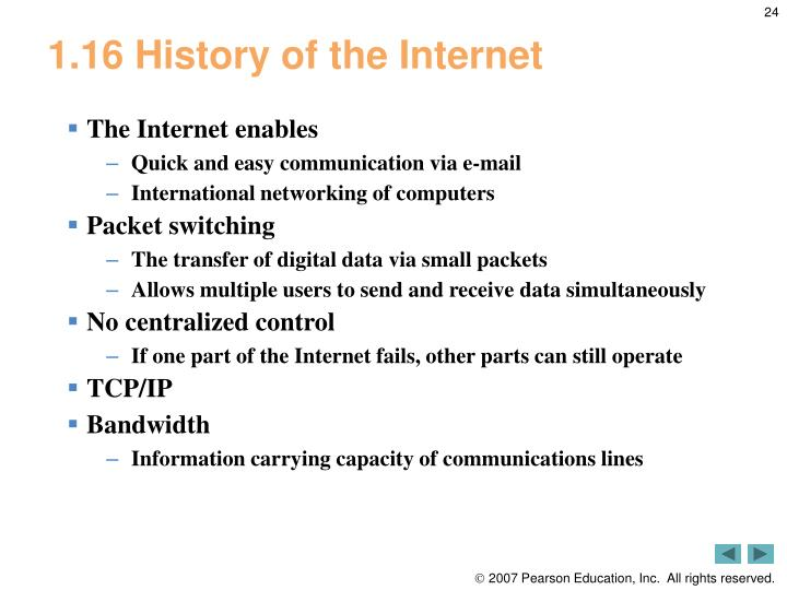 1.16 History of the Internet