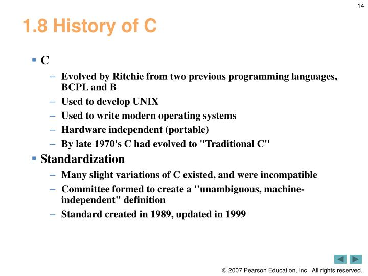 1.8 History of C
