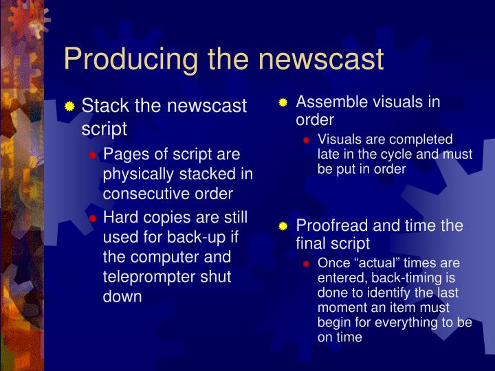 Stack the newscast script