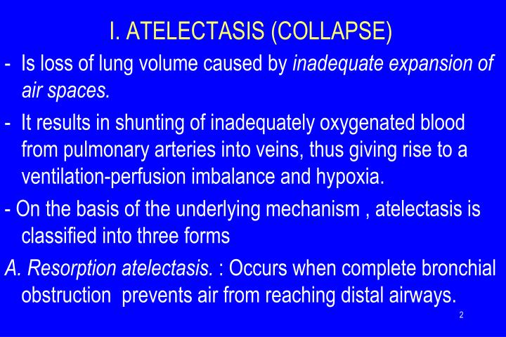 I. ATELECTASIS (COLLAPSE)