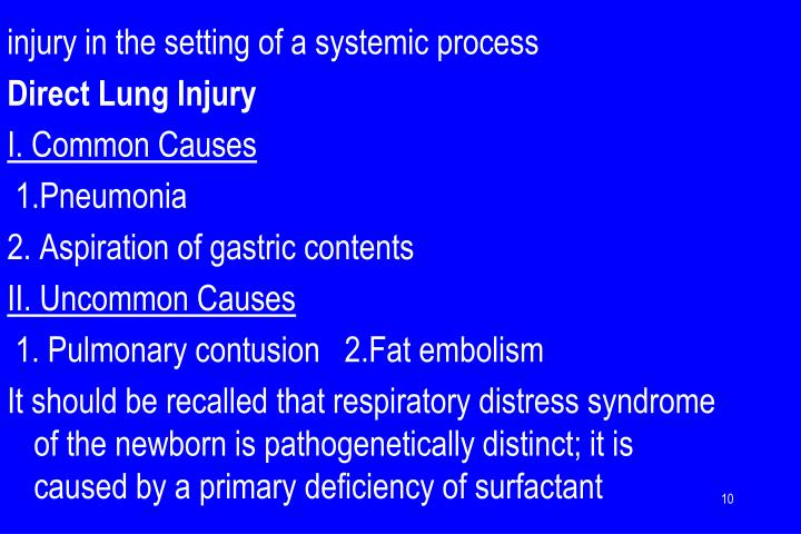 injury in the setting of a systemic process