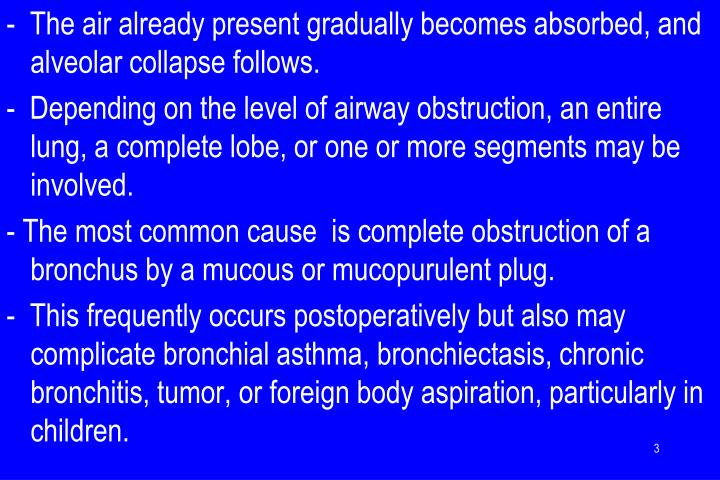 -  The air already present gradually becomes absorbed, and alveolar collapse follows.