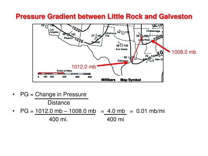 Pressure Gradient between Little Rock and Galveston
