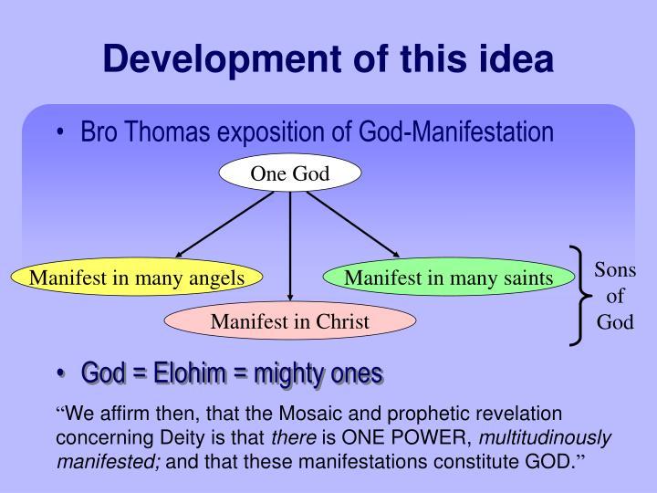 Development of this idea