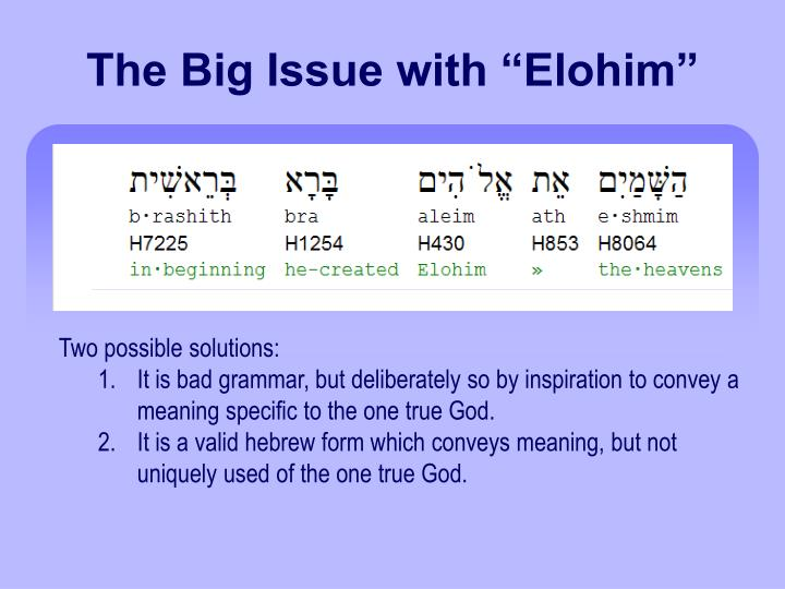 """The Big Issue with """"Elohim"""""""