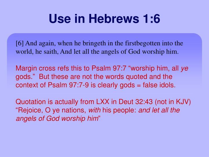 Use in Hebrews 1:6