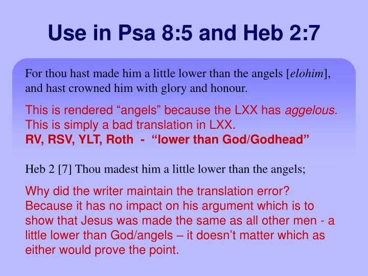 Use in Psa 8:5 and Heb 2:7
